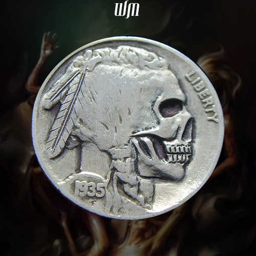 wdwmkr 1935 Indian Skull Hobo Nickel front zoom